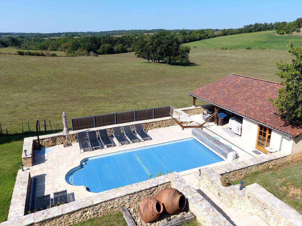 La Plumardie Basse - Dordogne - Zwembad La Plumardie Basse vanuit de lucht